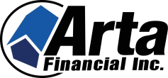 Arta Financial Inc. Logo with a blue property