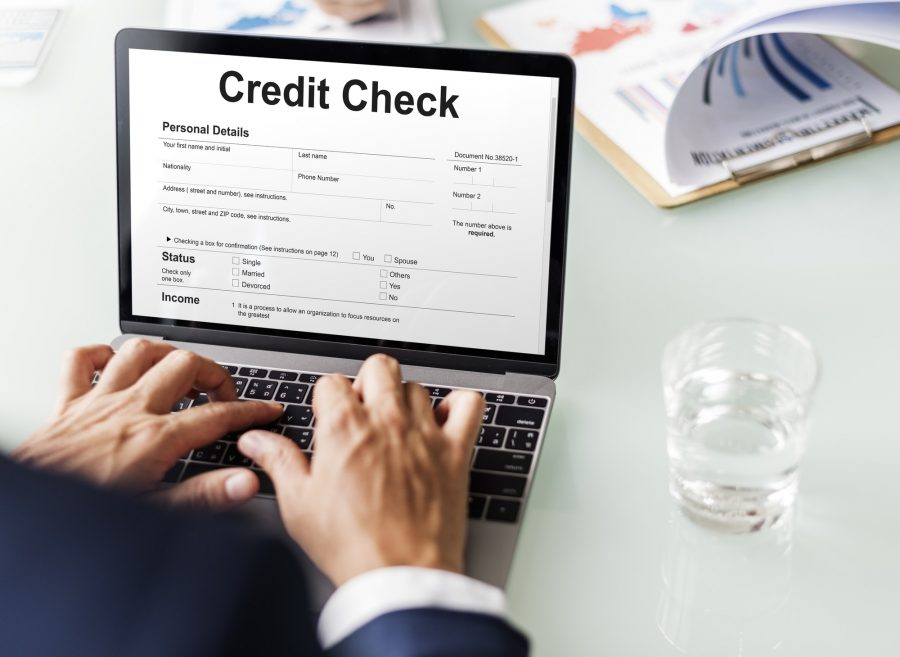 Business professional filling out credit check application online