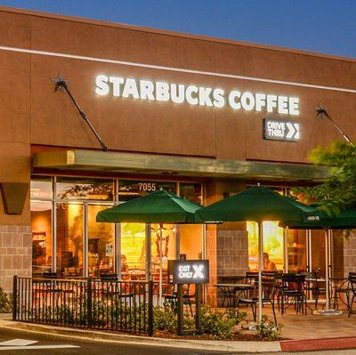 Starbucks Coffee Shop with lights on